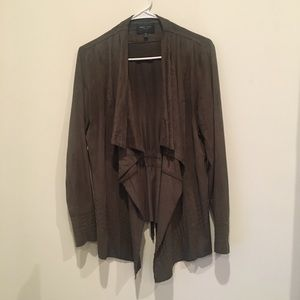 Olive green suede cardigan